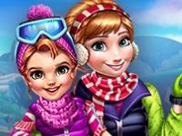 Флеш игра Анна с дочей на зимней прогулке