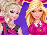 Флеш игра Анна и Эльза в академии очаровательных принцесс