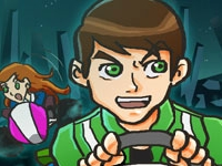 Флеш игра Бен 10: Гонка на картах с друзьями
