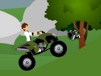 Флеш игра Бен 10 гоняет на квадроцикле по бездорожью