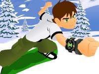 Флеш игра Бен 10 катается на сноуборде