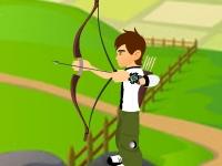 Флеш игра Бен 10 стреляет из лука по шарикам