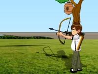 Флеш игра Бен 10 стреляет из лука по воздушным шарикам