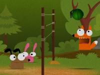 Флеш игра Безумные зверушки играют в волейбол
