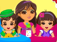 Флеш игра Даша Путешественница присматривает за близнецами