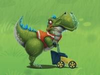 Флеш игра Дино с газонокосилкой