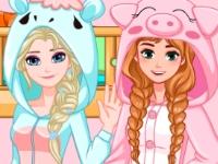 Флеш игра Двухъярусная кровать для Анны и Эльзы