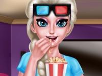 Флеш игра Эльза смотрит 3D фильм
