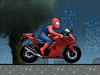 Флеш игра Гонка на байке с человеком пауком
