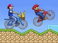 Флеш игра Гонка на велосипедах с мультяшными героями