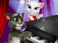 Флеш игра Говорящие Том и Анжела: Серенада за фортепиано