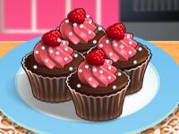 Флеш игра Кухня Сары: Шоколадные кексы с малиной