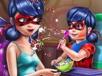 Флеш игра Леди Баг кормит дочурку