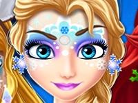 Флеш игра Новогодние рисунки на лицах принцесс