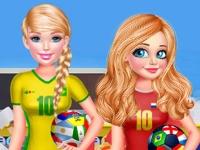 Флеш игра Принцессы поддерживают любимые футбольные команды