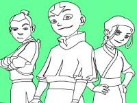 Флеш игра Раскрась Аанга, Сокка и Катару