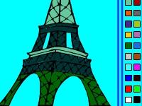 Флеш игра Раскрась Эйфелеву башню