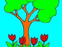 Флеш игра Раскрась дерево с цветами