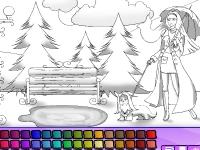 Флеш игра Раскрась девушку с собачкой