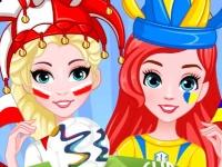 Флеш игра Раскраска лиц принцесс на чемпионате мира по футболу