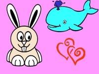 Флеш игра Раскраска зайца и кита