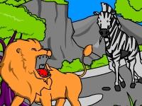 Флеш игра Раскраски Розы: лев и зебра