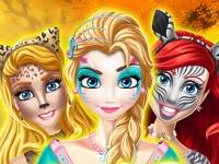 Флеш игра Рисунки на лицах принцесс