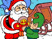 Флеш игра Рождественская раскраска с Сантой