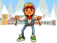 Флеш игра Сабвей Серф на лыжах