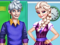 Флеш игра Школьная романтика Эльзы и Ледяного Джека