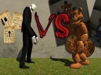 Флеш игра Слендермен против Фредди Фазбера