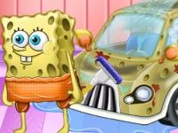 Флеш игра Спанч Боб моет машину
