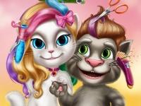 Флеш игра Стильные прически Тома и Анжелы