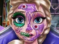 Флеш игра Страшный макияж для Эльзы на Хэллоуин