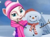 Флеш игра Том и говорящие друзья играют в снежки