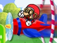 Флеш игра Трюки Марио на самолете
