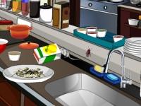 Флеш игра Уборка кухни в заведении быстрого питания