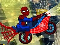Флеш игра Удивительная гонка Человека-паука на мотоцикле