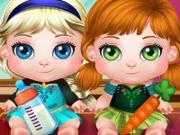 Флеш игра Веселый день с малышками Эльзой и Анной