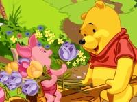 Флеш игра Винни Пух и Пятачок с цветами: Пазл