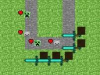 Флеш игра Защити замок в Майнкрафт