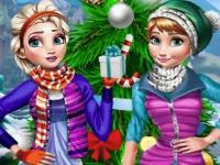 Флеш игра Зимний отдых Анны и Эльзы